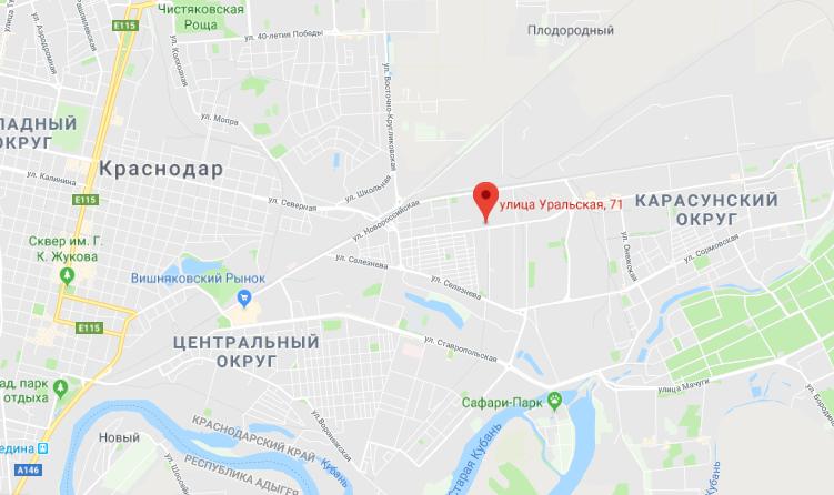 ЖК Галактика на карте Краснодара