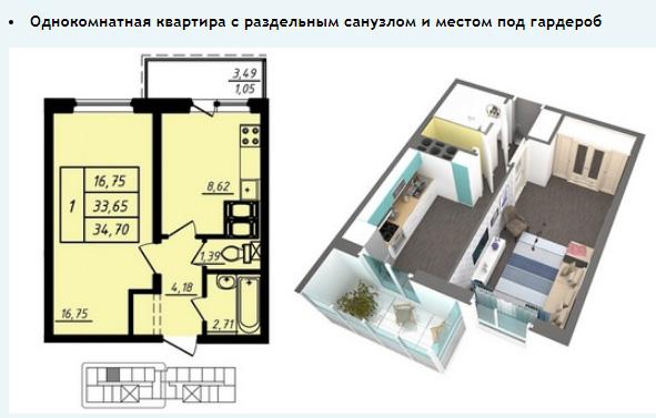 1-комнатная в Девяткино