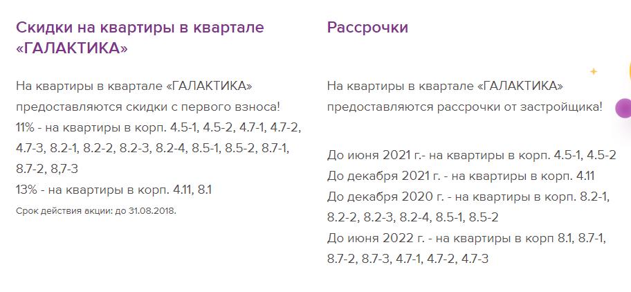 Акции и рассрочки на ЖК Галактика СПб