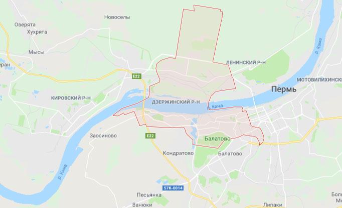 Карта Дзержинский р-н, Пермь