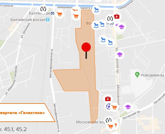Магазины, садики на карте ЖК Галактика СПб